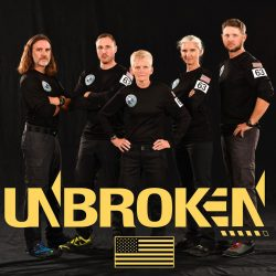 Team UNBROKEN official photo. From left, Hal Riley, Keith Knoop, Gretchen Evans, Dr. Anne Bailey, and team assistant Cale Yarborough. Courtesy Amazon.
